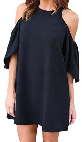 Solid Jaycargogo Shoulder Mini Off Womens Summer Sleeve Short Dress Black Crewenck qWtnTPtHc