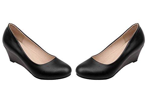 Slip Escarpins Talon Shoes Solide Ageemi Femmes Compensé Chaussures Eud73 On Noir 6APpxqHX