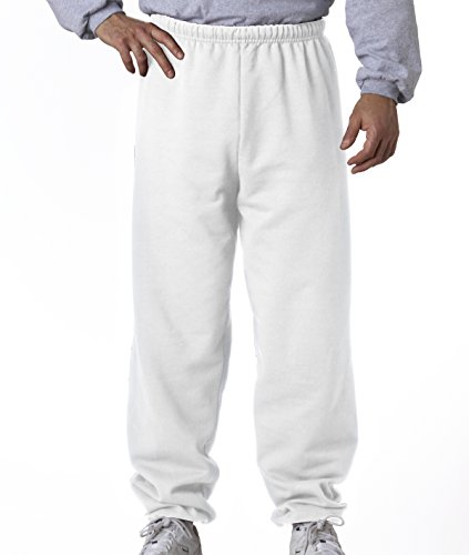 Jerzees 8 oz Sweatpant (973M) No Pockets Available in 10 Colors - White 973M L