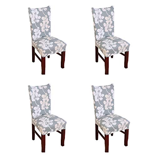 (Argstar 4 Pack Chair Covers for Dining Room Spendex Slipcovers Flower Design)