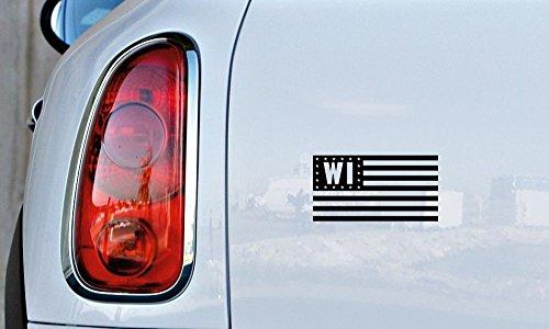 Wisconsin WI State Flag Star Car Vinyl Sticker Decal Bumper Sticker for Auto Cars Trucks Windshield Custom Walls Windows Ipad Macbook Laptop and More (Black)