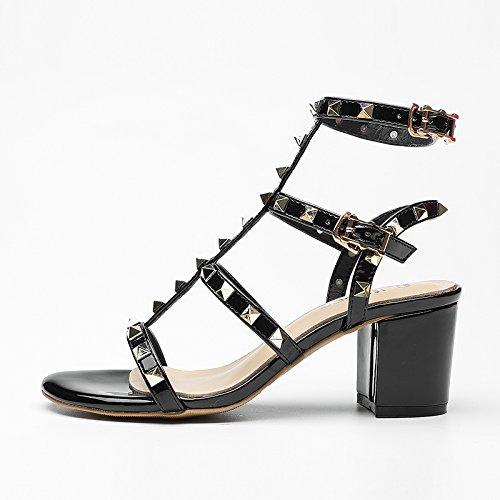 Verano Mujer zapatos de cuero sandalias de verano tacones altos,38 amarillo Black