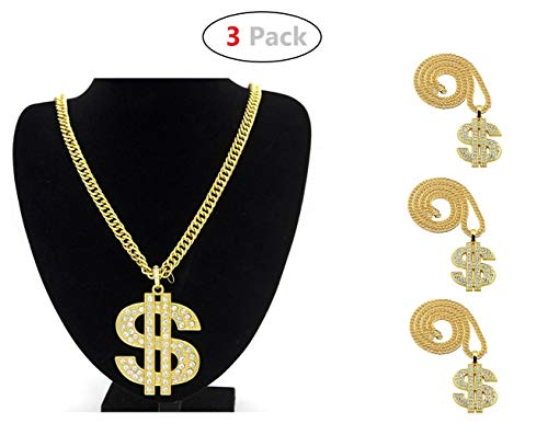 Hip Hop Costumes For Boys (Yo-fobu 3 Pack Hip Hop Chain Necklace Rapper Gold Costume Necklace Jewelry Rapper Necklace for Club Rock Party, Long 27.5 inches, Wide)
