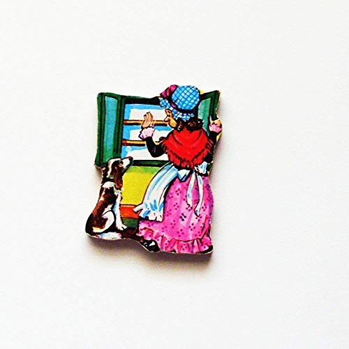 - 1960s Old Mother Hubbard Brooch Pin - ME2Designs Upcycled Wood Jewelry