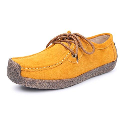 L-RUN Womens Casual Comfortable Suede Walking Shoes Flat Yellow rJJ0lek