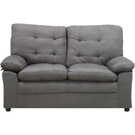 Microfiber Gray Loveseat, This Comfortable Grey Loveseat Is Ideal for Any Living - Hardwood Loveseat