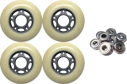4-Pack Outdoor Inline Skate Wheels White/Sil 76mm 82a Abec 9 bearing combo