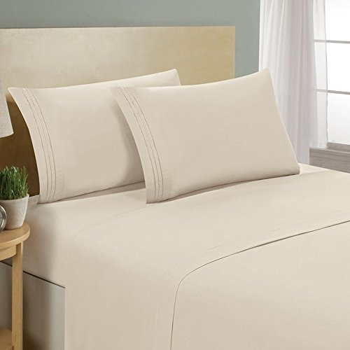 (Bed Bath Outlet Highest Quality Ultra Soft 4 Piece Eco-Friendly Deep Pocket Bamboo Bed Sheets Hypoallergenic and Wrinkle Resistant  (California King, 3 Line Ivory))