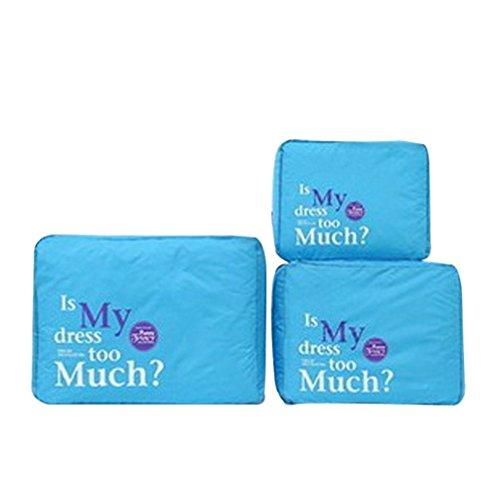 3pcs / set ordenado de malla de nylon de la cremallera portátil de viaje para el equipaje Bolsa de almacenamiento de ropa de la maleta del caso del organizador del bolso de la bolsa, gris Blue
