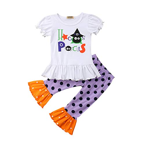 2PCS Halloween Clothes Sets Toddler Baby Girls Short Sleeve Tops + Dots Print Pants Halloween Outfits Set (White, 1-2 Years) -