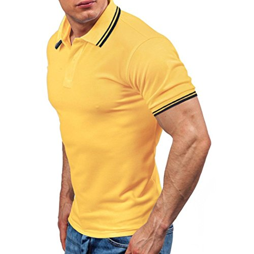 Forthery Men Shirts, Summer Tops Men Casual Slim Fit Short Sleeve Henley T-Shirt (US M = Asia L, Yellow)