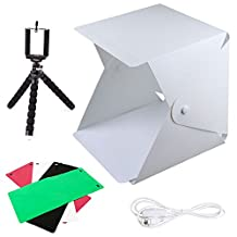 Photo Light Box,FOME Foldable & Portable Photo Lighting Studio Kit Mini Photo Shooting Tent with Light 8.8x9.6x9.8in Photo Studio Box with 4 Colors Backdrops Phone Tripod Switch USB Cable and Pouch