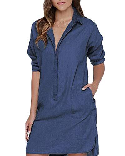 Auxo Women's Lapel Button Down Long Sleeve Pocket Denim Shift Mini Dress Tops Blue 2XL