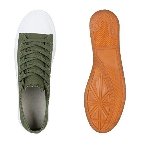 Stiefelparadies Komfortable Damen Basic Sneakers Low Helle Sohle Schnürer Flandell Grün