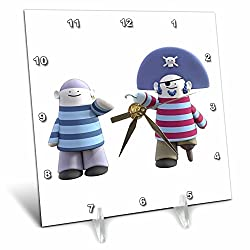 3dRose Boehm Graphics Cartoon - A Cartoon Pirate Captain and Mate - 6x6 Desk Clock (dc_282312_1)