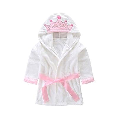 Taiycyxgan Little Girl's Hooded Coral Fleece Bathrobe Unisex Kids Robe Pajamas Sleepwear