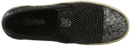 Basse silber Rieker 90 Donna Espadrillas Nero Schwarz Schwarz M9968 silber R88EqnwHr