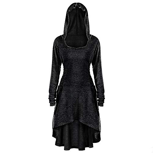 Hooded Dress,Kulywon Womens Casual Long Sleeve Side Bandage Hooded Loose Dress Dress(L/US 8,Black) from Kulywon