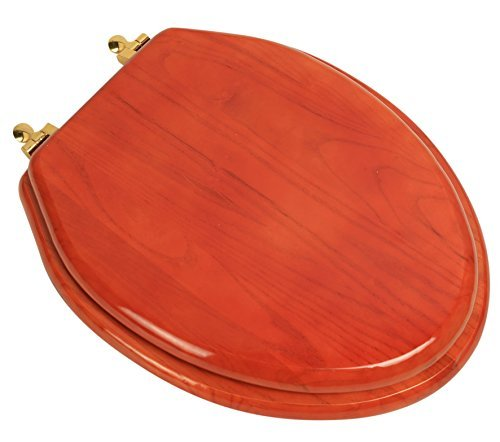 Bath Dcor 5F1E2-15BR Elongated Toilet Seat in Traditional Design American Red Oak with Polished Brass Metal Hinges by Bath Dcor