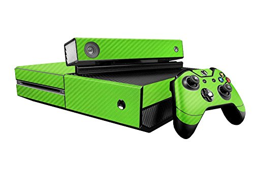 Microsoft Xbox One Skin (XB1) - NEW - 3D CARBON FIBER LIME GREEN - Air Release vinyl decal faceplate mod kit by System Skins (Lime Green Faceplates)