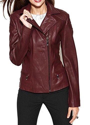 (Captain Cory Womens Bambert Lambskin Genuine Leather Jacket, Biker Jacket)