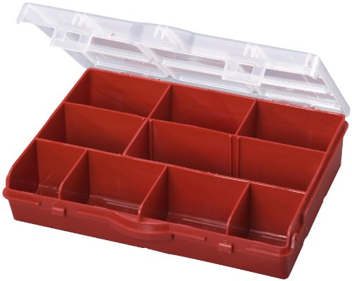 (Stack-On SBR-10 10 Compartment Storage Organizer Box with Removable Dividers, Red)