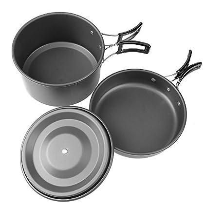 Broadroot 1pc Juego de ollas sartenes tetera cuencos portátil al aire libre Camping Picnic Set Cookwares