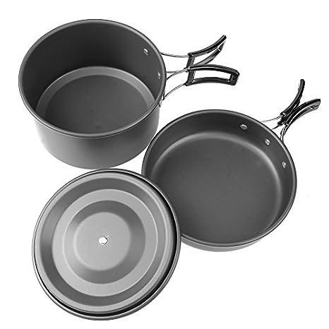 Broadroot 1pc Juego de ollas sartenes tetera cuencos portátil al aire libre Camping Picnic Set Cookwares Set: Amazon.es: Deportes y aire libre