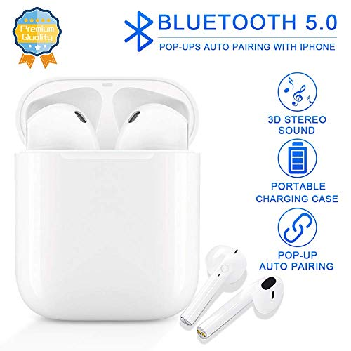 Bluetooth 5.0 Wireless Earbuds, Noise Canceling Headphones with Portable Charging Case, IPX5 Waterproof, 24Hrs Playtime, Built-in Mic TWS Stereo Headphones for Apple Airpods Android/iPhone