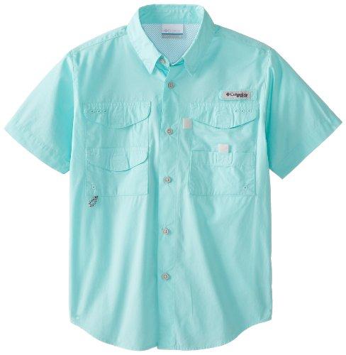 Columbia Youth Boys PFG Bonehead Short Sleeve Shirt, Cotton, Relaxed Fit, Gulf Stream, Large
