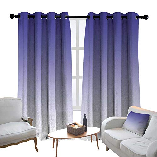 Drapes Fireside - Lewis Coleridge Blackout Curtains Ombre,Twilight in The Morning Dawn of The Day Inspired Color Ombre Design Digital Print,Indigo White,Insulating Room Darkening Blackout Drapes for Bedroom 120