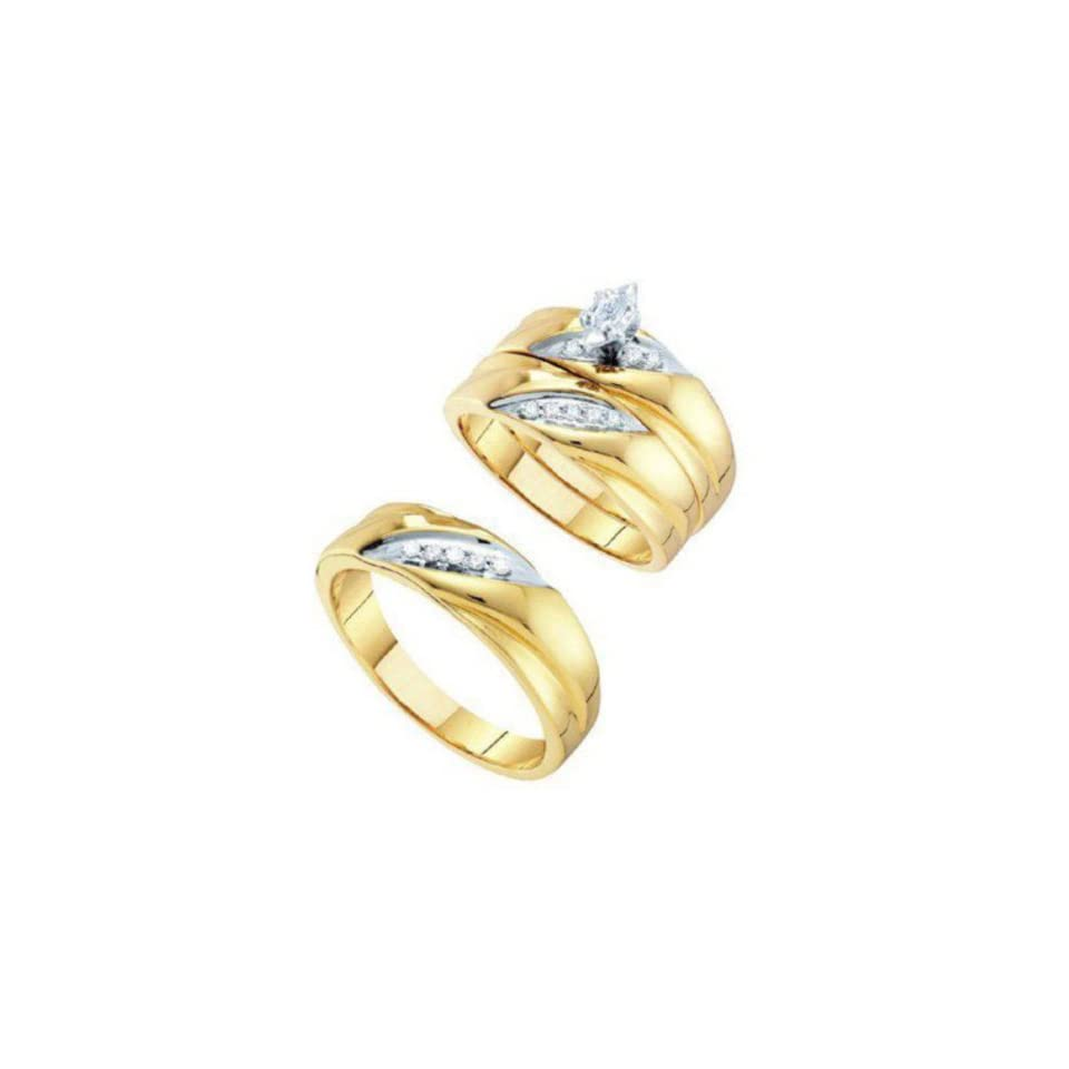 0.25 cttw 10k Yellow Gold Diamond Marquise Engagement Ring and Wedding Band Set Trio His and Hers Channel Setting (Real Diamonds 1/4 cttw, Ring Sizes 4 13) Jewelry