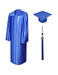 Unisex Shiny Graduation Gown Cap & Tassel with 2016 or 2017 Year Charm