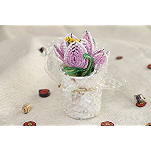 Beautiful Artificial Flowers Hand Woven Of Chinese Beads In The Shape Of Violet Crocuses 10