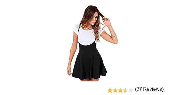 Tongshi Las Mujeres de Moda Falda Negra con Correas de Hombro ...