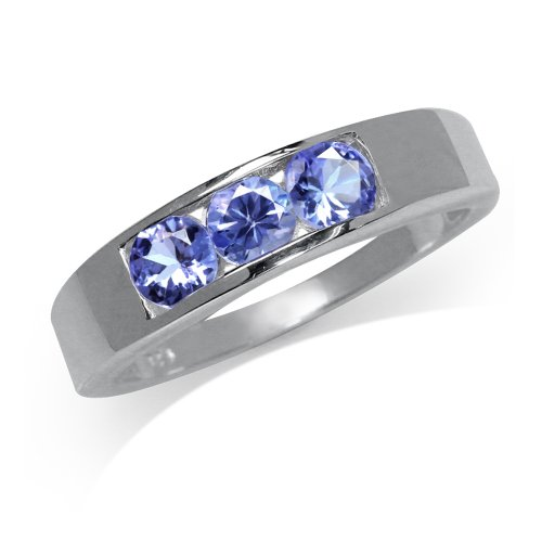 3-Stone Genuine Tanzanite 925 Sterling Silver Band Ring Size - Stone Ring Tanzanite 3