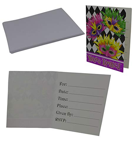 (Mardi Gras Invitations with Envelops (Pack of 8 Cards) | Holiday Party Invites, Carnival Events Party)