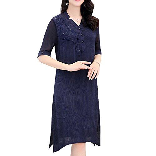 Kleid Damen Cocktail Kleider DISSA S1705 Geblümt Seide Blau Maxi Übergröße Abendkleid qWfB0fn
