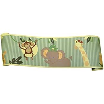 Amazon Com Nojo Jungle Babies Wallpaper Border Nursery