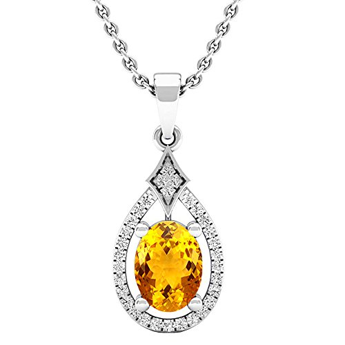Dazzlingrock Collection 14K 8X6 MM Oval Citrine & Round Diamond Ladies Pendant (Silver Chain Included), White Gold