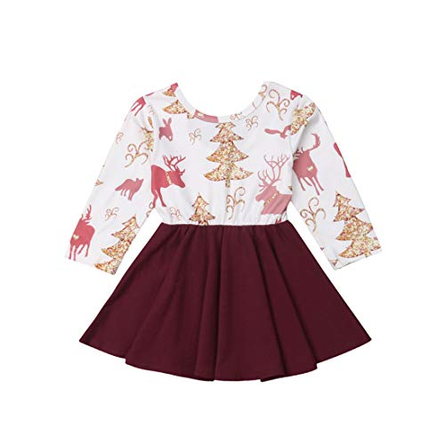 - Christmas Dress Baby Girl Long Sleeve Trees Deer Printed One-Piece Burgundy Skirt Xmas Outfit Clothes (Red, 2-3Y)