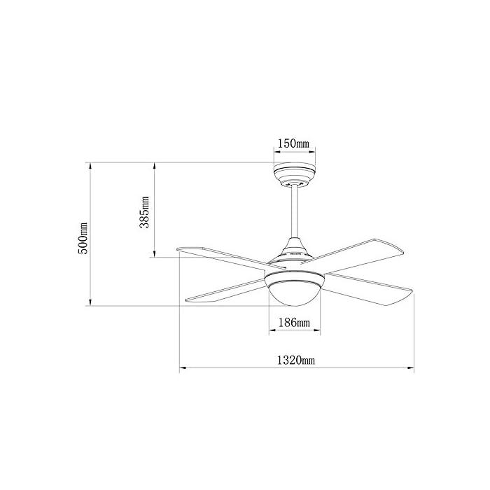 41ac014J%2BDL Ventilador con luz con 4 palas; accionamiento por control remoto -incluido- (6 velocidades); silencioso Diámetro: diámetro 123 cm; longitud de la pala: 52.2 cm; alto: 50 cm; florón: diámetro 15 cm Apto para techos inclinados hasta 15º. Pila mando a distancia no incluida. Ideal para habitaciones de hasta 17.6 metros cuadrados.