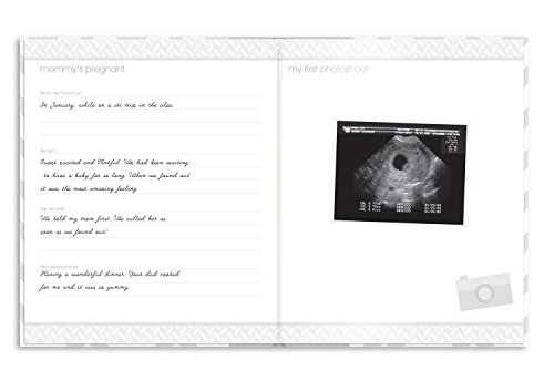 Large Product Image of Pearhead First 5 Years Chevron Baby Memory Book with Clean-Touch Baby Safe Ink Pad to Make Baby's Hand or Footprint Included, Gray