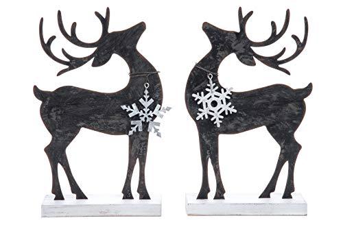 Transpac Imports D1932 Metal Standing Reindeer Decor, Black