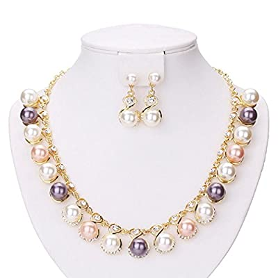 Hot Susenstone Fashion Pearl Necklace Diamond Earrings free shipping