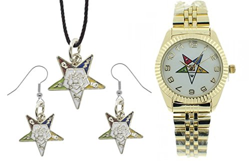 3 Piece Jewelry Set - Order of the Eastern Star Pendant, Hook earrings & Order of the Eastern Star Masons Watch. OES Symbol on Gold Color Steel Band White Face Dial