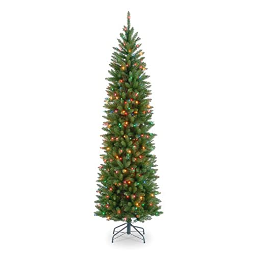 national tree 75 foot kingswood fir pencil tree with 350 multicolor lights hinged kw7 313 75 - Christmas Tree Lights Amazon