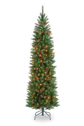 National Tree 7.5 Foot Kingswood Fir Pencil Tree with 350 Multicolor Lights, Hinged (KW7-313-75) Slim Christmas Trees