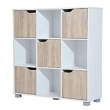 HomCom 9 Cube Bookcase Storage Shelf Organizer with 5 Doors and 4 Open Cube (White)