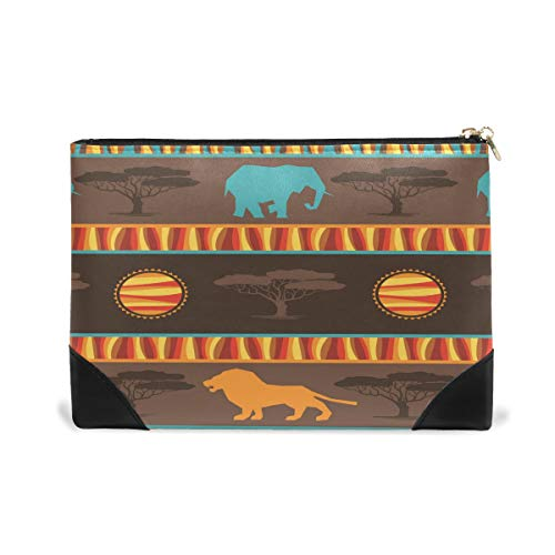 Women Makeup Bag Africa Lion Elephant Genuine Leather Zipper Cosmetics Pouch Lady Toiletry Bag by CHAYUN